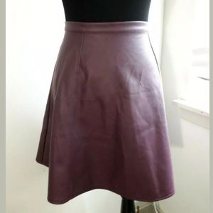 LC Lauren Conrad Burgundy Faux Leather Skirt Sz 10